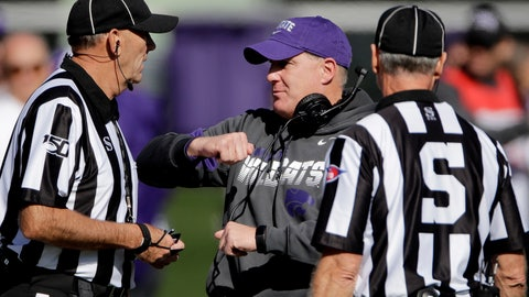 <p>               Kansas State head coach Chris Klieman talks to officials during the first half of an NCAA college football game against Oklahoma, Saturday, Oct. 26, 2019, in Manhattan, Kan. (AP Photo/Charlie Riedel)             </p>