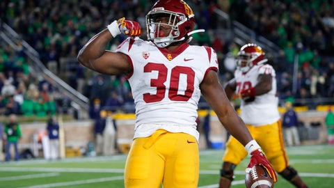 <p>               Southern California running back Markese Stepp flexes his bicep after scoring on a 2-yard touchdown run in the second half of an NCAA college football game against Notre Dame in South Bend, Ind., Saturday, Oct. 12, 2019. (AP Photo/Paul Sancya)             </p>