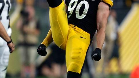 <p>               Pittsburgh Steelers outside linebacker T.J. Watt (90) celebrates after sacking Cincinnati Bengals quarterback Andy Dalton (14) during the second half of an NFL football game in Pittsburgh, Monday, Sept. 30, 2019. (AP Photo/Tom Puskar)             </p>