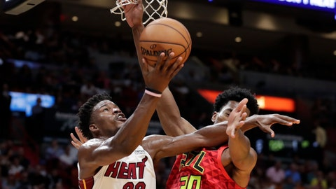 <p>               Miami Heat forward Jimmy Butler (22) goes to the basket as Atlanta Hawks center Damian Jones (30) defends during the second half of an NBA basketball game Tuesday, Oct. 29, 2019, in Miami. Miami won 112-97. (AP Photo/Lynne Sladky)             </p>