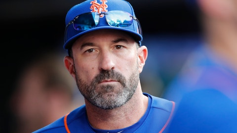 <p>               New York Mets manager Mickey Callaway looks out from the dugout during a baseball game against the Atlanta Braves, Sunday, Sept. 29, 2019, in New York. (AP Photo/Kathy Willens)             </p>