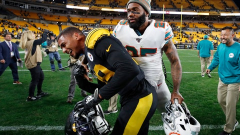 <p>               Pittsburgh Steelers free safety Minkah Fitzpatrick, left, and Miami Dolphins cornerback Xavien Howard visit on the field following an NFL football game in Pittsburgh, Monday, Oct. 28, 2019. The Steelers won 27-14. (AP Photo/Don Wright)             </p>