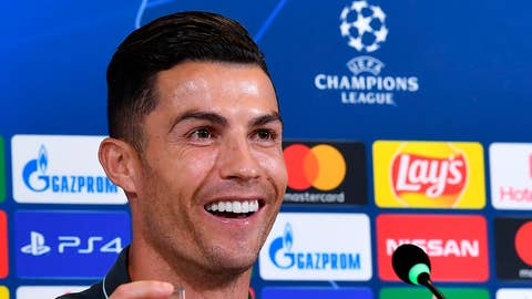 <p>               Juventus' Cristiano Ronaldo meets the media ahead of Tuesday's Champions League group D soccer match against Lokomotiv Moscow, at the Allianz stadium in Turin, Italy, Monday, Oct. 21,  2019. (Alessandro Di Marco/ANSA via AP)             </p>