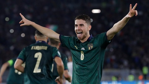 <p>               Italy's Jorginho celebrates after he scores the opening goal of the game from the penalty spot during the Euro 2020 group J qualifying soccer match between Italy and Greece in Rome, Italy, Saturday, Oct. 12, 2019. (AP Photo/Alessandra Tarantino)             </p>