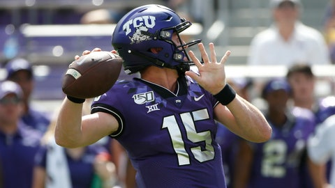 <p>               TCU quarterback Max Duggan (15) throws against SMU during the first half of an NCAA college football game Saturday, Sept. 21, 2019, in Fort Worth, Texas. (AP Photo/Ron Jenkins)             </p>