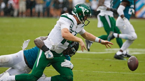 <p>               Jacksonville Jaguars defensive end Josh Allen, left, tackles New York Jets quarterback Sam Darnold and forces a fumble during the first half of an NFL football game, Sunday, Oct. 27, 2019, in Jacksonville, Fla. (AP Photo/Stephen B. Morton)             </p>