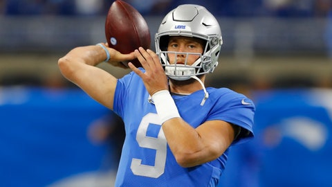 <p>               Detroit Lions quarterback Matthew Stafford throws during pregame of an NFL football game against the Kansas City Chiefs, Sunday, Sept. 29, 2019, in Detroit. (AP Photo/Paul Sancya)             </p>