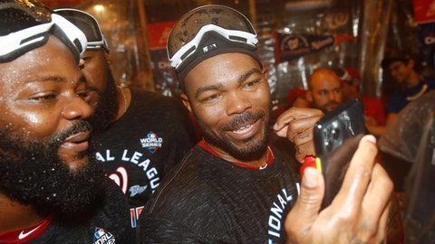 <p>               Washington Nationals' Howie Kendrick celebrates after Game 4 of the baseball National League Championship Series against the St. Louis Cardinals Wednesday, Oct. 16, 2019, in Washington. The Nationals won 7-4 to win the series 4-0. (AP Photo/Patrick Semansky)             </p>