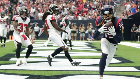 <p>               Houston Texans wide receiver Will Fuller (15) catches a pass for a touchdown against the Atlanta Falcons during the first half of an NFL football game Sunday, Oct. 6, 2019, in Houston. (AP Photo/David J. Phillip)             </p>