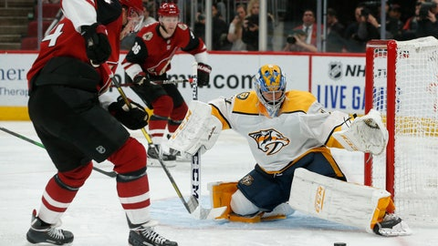 <p>               Nashville Predators goaltender Juuse Saros makes a save on Arizona Coyotes center Carl Soderberg (34) during the second period of an NHL hockey game Thursday, Oct. 17, 2019, in Glendale, Ariz. (AP Photo/Rick Scuteri)             </p>