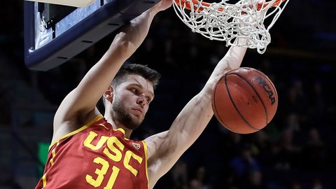 <p>               FILE - In this Saturday, Feb. 16, 2019, file photo, Southern California's Nick Rakocevic scores against California in the second half of an NCAA college basketball game in Berkeley, Calif. Rakocevic is one of the Pac-12's top returning big men. The senior averaged 14.7 points and 9.3 rebounds last season and his 15 double-doubles were second-most in the league. He shot 55 percent from the field, but will need to avoid the foul trouble that plagued him last season. (AP Photo/Ben Margot, File)             </p>