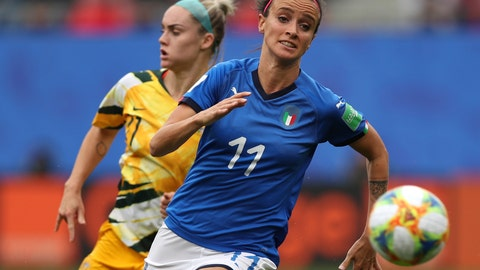 <p>               FILE - In this June 9, 2019 file photo, Australia's Ellie Carpenter, left, chases Italy's Barbara Bonansea during a Women's World Cup Group C soccer match between Australia and Italy at the Stade du Hainaut in Valenciennes, France. Italy won 2-0. Italy's surprise run to the quarterfinals of the Women's World Cup this year went a long way toward changing misconceptions about the female game in a country where the most popular sport is dominated by men. (AP Photo/Francisco Seco, file)             </p>
