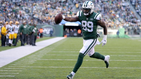 <p>               FILE - In this Dec. 23, 2018 file photo, New York Jets tight end Chris Herndon scores on a touchdown pass form quarterback Sam Darnold, not visible, during the second half of an NFL football game against the Green Bay Packers, in East Rutherford, N.J.  Herndon has a hamstring injury that will sideline him for an undetermined amount of time.  Coach Adam Gase says Wednesday, Oct. 9, 2019, the second-year tight end was injured last Friday while running routes on his own.(AP Photo/Seth Wenig, File)             </p>
