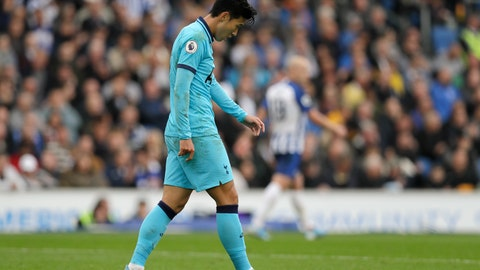 <p>               Tottenham's Son Heung-min is dejected after missing an opportunity to score during the English Premier League soccer match between Brighton and Hove Albion and Tottenham Hotspur at Falmer stadium in Brighton, England Saturday, Oct. 5, 2019. (AP Photo/Kirsty Wigglesworth)             </p>