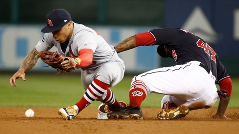 <p>               Washington Nationals' Howie Kendrick is safe at second as St. Louis Cardinals' Kolten Wong can't handle the ball during the first inning of Game 4 of the baseball National League Championship Series Tuesday, Oct. 15, 2019, in Washington. (AP Photo/Patrick Semansky)             </p>