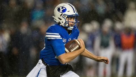 <p>               BYU quarterback Baylor Romney runs during the first half of the team's NCAA college football game against Boise State on Saturday, Oct. 19, 2019, in Provo, Utah. (AP Photo/Tyler Tate)             </p>