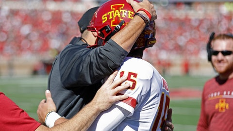 <p>               Iowa State coach Matt Campbell hugs Brock Purdy (15) after scoring a touchdown during the first half of an NCAA college football game against Texas Tech, Saturday, Oct. 19, 2019, in Lubbock, Texas. (Brad Tollefson/Lubbock Avalanche-Journal via AP)             </p>