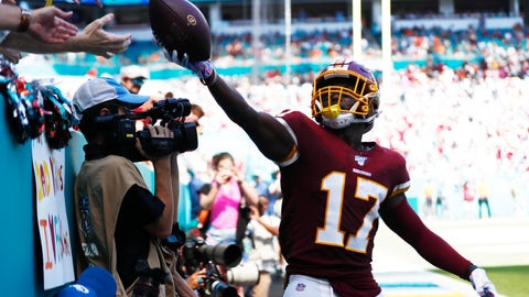 <p>               Washington Redskins wide receiver Terry McLaurin (17) gives away the football after scoring a touchdown, during the first half at an NFL football game against the Miami Dolphins, Sunday, Oct. 13, 2019, in Miami Gardens, Fla. (AP Photo/Brynn Anderson)             </p>