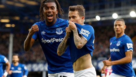 <p>               Everton's Bernard, centre, celebrates scoring his side's first goal of the game against West Ham, with teammate Alex Iwobi, left, during their English Premier League soccer match at Goodison Park in Liverpool, England, Saturday Oct. 19, 2019. (Martin Rickett/PA via AP)             </p>