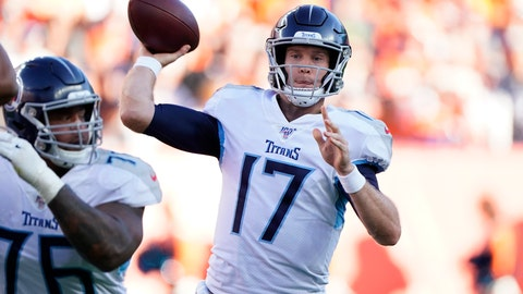 <p>               Tennessee Titans quarterback Ryan Tannehill throws a pass during the second half of an NFL football game against the Denver Broncos, Sunday, Oct. 13, 2019, in Denver. (AP Photo/Jack Dempsey)             </p>