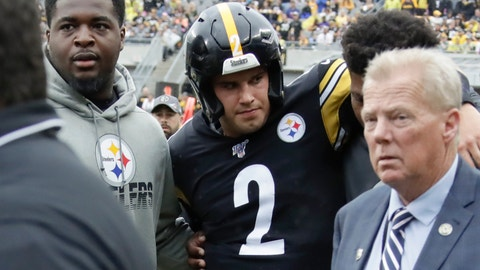 <p>               Pittsburgh Steelers quarterback Mason Rudolph (2) is helped from the field after he was injured in the second half of an NFL football game against the Baltimore Ravens, Sunday, Oct. 6, 2019, in Pittsburgh. (AP Photo/Gene J. Puskar)             </p>