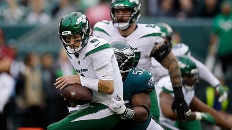 <p>               New York Jets' Luke Falk, left, is tackled by Philadelphia Eagles' Brandon Graham during the first half of an NFL football game, Sunday, Oct. 6, 2019, in Philadelphia. (AP Photo/Matt Rourke)             </p>