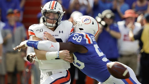 <p>               Auburn quarterback Bo Nix, left, is hit by Florida linebacker Jonathan Greenard (58) as he releases the ball during the first half of an NCAA college football game, Saturday, Oct. 5, 2019, in Gainesville, Fla. (AP Photo/John Raoux)             </p>