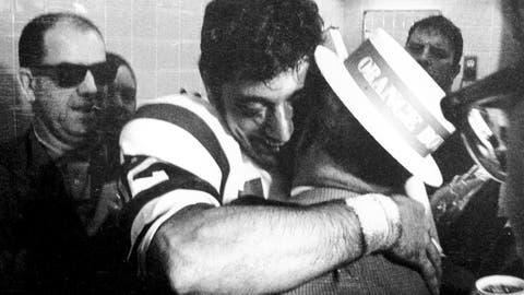 <p>               FILE - In this Jan. 12, 1969, file photo, New York Jets quarterback Joe Namath gives his father, who is wearing an Orange Bowl hat, a big hug in the Jets' locker room after leading the team to a 16-7 win over Baltimore Colts in the Super Bowl III NFL football game in Miami. (AP Photo/File)             </p>