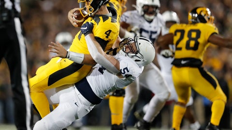 <p>               Penn State defensive tackle Robert Windsor, center, sacks Iowa quarterback Nate Stanley during the second half of an NCAA college football game Saturday, Oct. 12, 2019, in Iowa City, Iowa. (AP Photo/Matthew Putney)             </p>