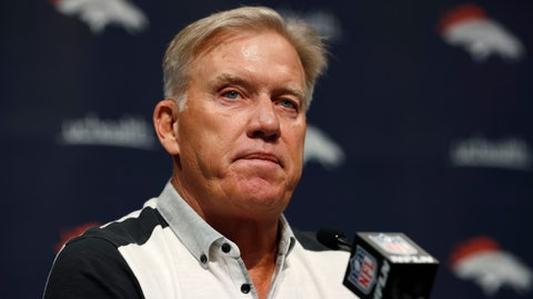 <p>               FILE - In this June 17, 2019, file photo John Elway, general manager of the Denver Broncos, speaks during a news conference at the NFL team's headquarters in Englewood, Colo. Elway said Friday, Oct. 11, 2019, hat despite Denver's 1-4 start none of his veteran players are on the trading block and that he remains committed to seeing his beloved Broncos out of their prolonged plummet. (AP Photo/David Zalubowski, File)             </p>