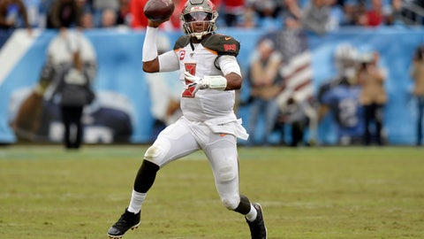 <p>               Tampa Bay Buccaneers quarterback Jameis Winston scrambles against the Tennessee Titans in the second half of an NFL football game Sunday, Oct. 27, 2019, in Nashville, Tenn. (AP Photo/Mark Zaleski)             </p>