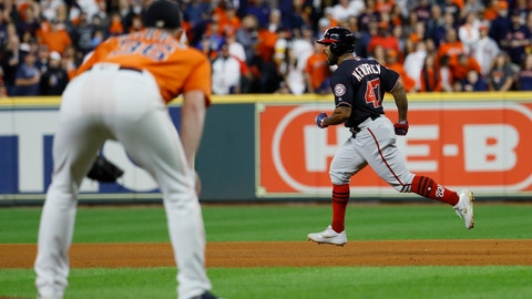 <p>               Houston Astros relief pitcher Will Harris watch as Washington Nationals' Howie Kendrick reacts after hitting a two-run home run during the seventh inning of Game 7 of the baseball World Series Wednesday, Oct. 30, 2019, in Houston. (AP Photo/Matt Slocum)             </p>