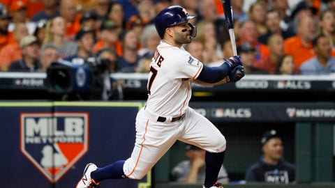 <p>               Houston Astros' Jose Altuve hits a double against the New York Yankees during the first inning in Game 6 of baseball's American League Championship Series Saturday, Oct. 19, 2019, in Houston.(AP Photo/Matt Slocum)             </p>