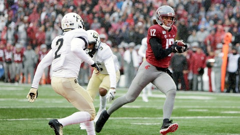 <p>               Washington State wide receiver Dezmon Patmon (12) runs for a touchdown in front of Colorado safety Mikial Onu (2) during the first half of an NCAA college football game in Pullman, Wash., Saturday, Oct. 19, 2019. (AP Photo/Young Kwak)             </p>