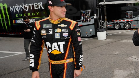 <p>               Daniel Hemric walks through the garage area after qualifying for a NASCAR Cup Series auto race at Kansas Speedway in Kansas City, Kan., Saturday, Oct. 19, 2019. (AP Photo/Colin E. Braley)             </p>