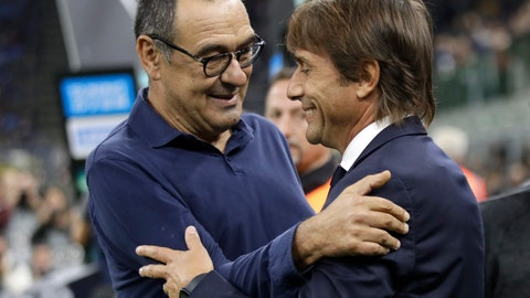 <p>               Inter Milan's head coach Antonio Conte and Juventus' head coach Maurizio Sarri, left, prior to the Serie A soccer match between Inter Milan and Juventus, at the San Siro stadium in Milan, Italy, Sunday, Oct. 6, 2019. (AP Photo/Luca Bruno)             </p>