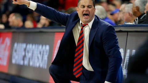 <p>               FILE - In this Jan. 5, 2019, file photo, Arizona head coach Sean Miller reacts to a foul call in the first half of an NCAA college basketball game against Utah in Tucson, Ariz. Ranked No. 21 in the Associated Press preseason poll, Arizona lost four key players from last year's team, but gained eight newcomers, including another stellar recruiting class by coach Miller. (AP Photo/Rick Scuteri, File)             </p>