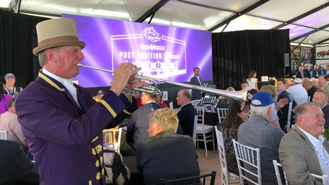 <p>               Santa Anita Park bugler Jay Cohen plays during the Breeders' Cup Draw for positions Monday, Oct. 28, 2019, at the track in Arcadia, Calif., in advance of the Breeders' Cup series of horse races this coming weekend. (AP Photo/Beth Harris)             </p>