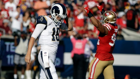 <p>               Los Angeles Rams quarterback Jared Goff (16) walks off the field at then end of a 20-7 loss to the San Francisco 49ers during an NFL football game Sunday, Oct. 13, 2019, in Los Angeles. (AP Photo/Alex Gallardo)             </p>
