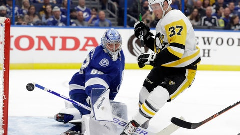 <p>               Pittsburgh Penguins center Sam Lafferty (37) shoots wide of Tampa Bay Lightning goaltender Andrei Vasilevskiy (88) during the first period of an NHL hockey game Wednesday, Oct. 23, 2019, in Tampa, Fla. (AP Photo/Chris O'Meara)             </p>