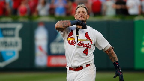 <p>               St. Louis Cardinals' Yadier Molina celebrates after hitting a sacrifice fly to score Kolten Wong and defeat the Atlanta Braves in Game 4 of a baseball National League Division Series, Monday, Oct. 7, 2019, in St. Louis. (AP Photo/Jeff Roberson)             </p>