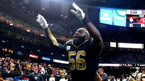<p>               New Orleans Saints outside linebacker Demario Davis (56) celebrates after an NFL football game against the Tampa Bay Buccaneers in New Orleans, Sunday, Oct. 6, 2019. The Saints won 31-24. AP Photo/Butch Dill)             </p>