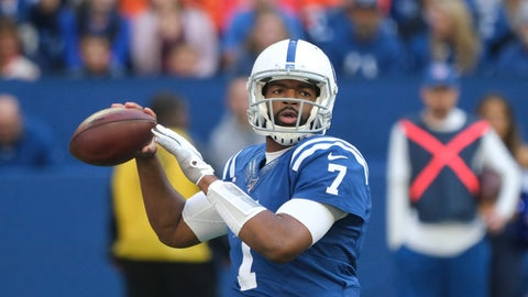 <p>               Indianapolis Colts quarterback Jacoby Brissett (7) throws during the first half of an NFL football game against the Denver Broncos, Sunday, Oct. 27, 2019, in Indianapolis. (AP Photo/AJ Mast)             </p>