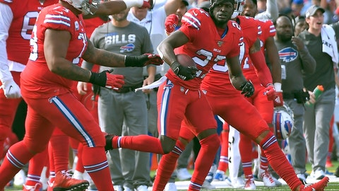 <p>               Buffalo Bills cornerback Tre'Davious White, right, celebrates his interception at the goal line in the second half of an NFL football game Miami Dolphins, Sunday, Oct. 20, 2019, in Orchard Park, N.Y. (AP Photo/Adrian Kraus)             </p>