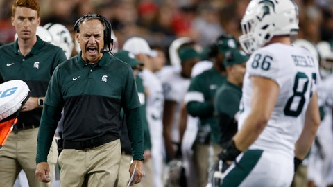 <p>               Michigan State coach Mark Dantonio shout to a player during the first half of the team's NCAA college football game against Ohio State on Saturday, Oct. 5, 2019, in Columbus, Ohio. (AP Photo/Jay LaPrete)             </p>