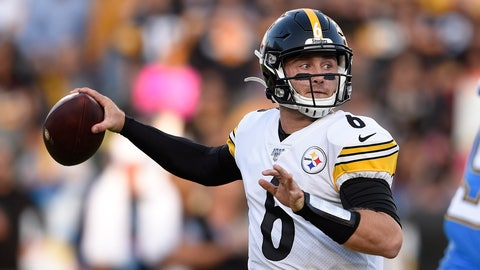 <p>               Pittsburgh Steelers quarterback Devlin Hodges passes during the first half of an NFL football game against the Los Angeles Chargers, Sunday, Oct. 13, 2019, in Carson, Calif. (AP Photo/Kelvin Kuo)             </p>