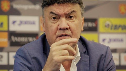 <p>               The president of Bulgaria's Football Union Borislav Mihaylov speaks during press conference in Sofia, Bulgaria, Friday, Oct. 18, 2019. Five more Bulgarian soccer fans were detained Friday following the racist abuse directed at England players during a European Championship qualifying match and Mihaylov handed in his resignation to the executive committee of the union. (AP Photo/Valentina Petrova)             </p>