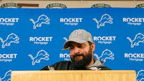 <p>               Detroit Lions head coach Matt Patricia speaks during a news conference following an NFL football game against the Green Bay Packers, Monday, Oct. 14, 2019, in Green Bay, Wis. Green Bay won 23-22. (AP Photo/Jeffrey Phelps)             </p>