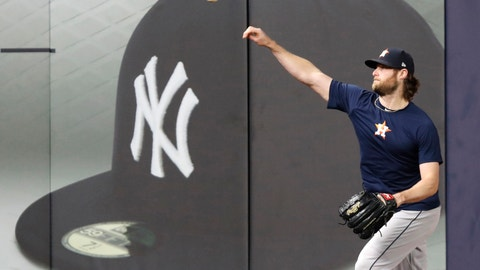 <p>               Houston Astros Game 3 starting pitcher Gerrit Cole throws on the field at Yankee Stadium, Monday, Oct. 14, 2019, in New York, after the team arrived to prepare for the American League Championship Series which continues Tuesday against the New York Yankees. (AP Photo/Kathy Willens)             </p>