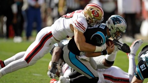 <p>               Carolina Panthers quarterback Kyle Allen is sacked by San Francisco 49ers defensive end Nick Bosa during the first half of an NFL football game in Santa Clara, Calif., Sunday, Oct. 27, 2019. (AP Photo/Ben Margot)             </p>